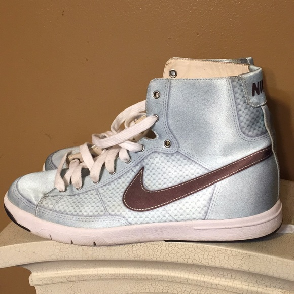 Nike satin look high tops ladies 9 baby blue. M 5ae6520f36b9de2a0569c911 bb7bc100a